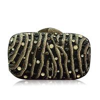 Diamond sparkling diamond striped evening bags all-match evening dress women clutch handbag elegant lady fashion dress
