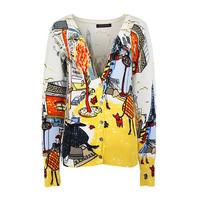 2014 new arrival women fashion fancy graffiti design printed patterns knitted cardigan sweater