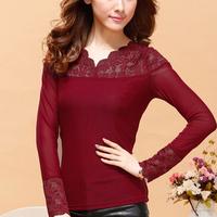 2014 Autumn Lace shirt Cutout Hollow Gauze Mesh Tops lace basic shirt female long-sleeve Sexy Sheer Women Lace Blouse