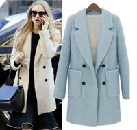 Women Plus size clothing slim woolen outerwear medium-long thick woolen overcoat top