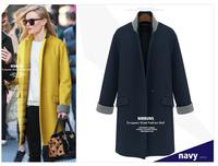 2014 woolen outerwear plus size clothing one button slim medium-long wool coat XXXXXL