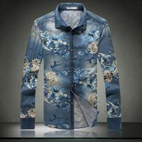 2014 Autumn Mens Fashion Luxury Casual Floral Printed Slim Fit Long-sleeved Shirts Jeans Denim Men's Dress Shirts Plus SizeM-5XL