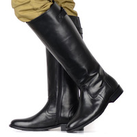 2014 winter fashion genuine leather men's boots zipper round toe cowhide martin boots riding boots gaotong boots