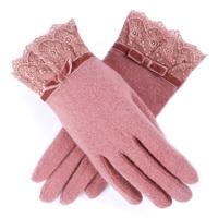 Wool gloves autumn and winter women's gloves thickening warm gloves cashmere gloves