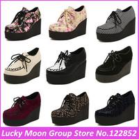 New fashion 2014 Harajuku creepers platform shoes women goth punk fashion british style women's high-heeled wedges casual shoes