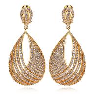 Z&H New Arrive Women's Luxury CZ Drop Earrings AAA Quality Cubic Zircon Lead Free Brass Platinum 18K Real Gold Plated Earring