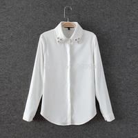 Women's collar diamond slim ol long-sleeve shirt white shirt
