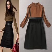 European Runway Fashion Vestidos Ladies' Long Sleeves Stand Collar Khaki Knitted Patchwork Belted Pencil Sheath Dress