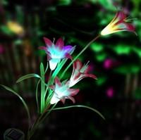 The new four solar lily garden decorative lights decorative lights LED Solar Light Simulation