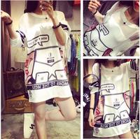 Fashion show thin gauze harajuku loose stitching print dress