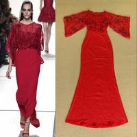 2014 Autumn Fashion Elegant ruffled pleated sleeve paillette disk flowers Full dress formal dress one-piece dress