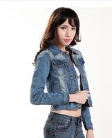 High quality 2014 autumn elastic slim retro fashion denim jacket women top short coat