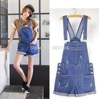 2014 Ladies Overall Summer women jumpsuits & rompers Loose denim bib pants Femme trousers Denim shorts YA3 blue size S M L