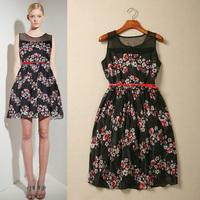 [REAL SHOT] Summer Fashion Elegant Print Slim Chiffon Dress With Belt Sleeveless O-neck One-piece Dress F-DG854