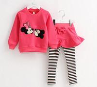 2014 female girls clothing sets children clothes sweatshirt set sweet culottes twinset