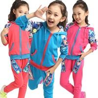 2014 autumn new children's clothing cotton fabric patch-color suit casual kids girl clothes set two-piece suit