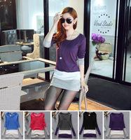 2014 Autumn and Winter Women's O-neck Color Block Patchwork Basic T-shirt Long-sleeve Shirt Bottoming Shirt Dress