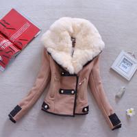 2014 new winter outerwear PU patchwork oblique zipper large lapel rabbit fur collar wool jacket coat for women M L XL XXL