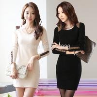 new 2014 Women Dress Spring Autumn Knitting Cotton Button Dresses Long Sleeve Slim Casual dress For Women Plus Size skirt female