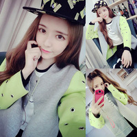 2014 fall fashion for women autumn contrast color O-neck jackets preppy style long sleeve outerwear free shipping