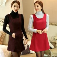 2014 autumn and winter women's fashion work office dress sleeveless tank dress basic woolen dress plus size S-XXXL 7 color