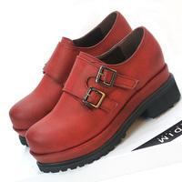 Velcro women's high-heeled platform shoes platform shoes thick heel shoes buckle single shoes