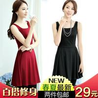 2014 women's summer and autumn brief plus size S-XXXL sleeveless tank slim dress ladies fashion work dresses 9 color