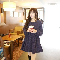 Maternity clothing 2014 autumn and winter fashion top long-sleeve maternity dress one-piece dress woolen dress thick