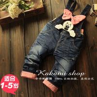 Children's clothing 2014 autumn cartoon princess jeans flower girl's bib pants child long trousers little girls trousres
