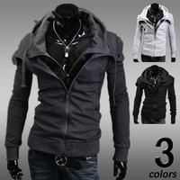 Free Shipping 2014 Men's Fashion Jackets  Shirt men sweatshirts Uniform Jacket multi colors Dark grey  grey black size M-XXL