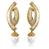 Modern Design Women Luxury Synthetic Pearl Earrings AAA Cubic Zirconia Large Earrings Allergy Free Silver Pin Post Wedding Gift