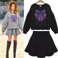 Women's autumn and winter o-neck embroidered steller's lantern sleeve outerwear a-line skirt sports set