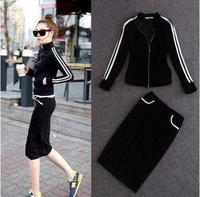 Fashion star style women's velvet outerwear slim bust skirt casual sports set