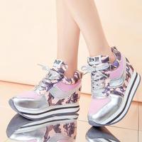 2014 autumn elevator platform casual shoes gauze Camouflage women's sports shoes breathable high shoes female