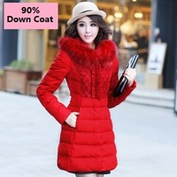 Occident Fashion Women Down Coats Thickening Slim long Down Coats Lovely Princess Style With big fur Collar Women Parkas Coats