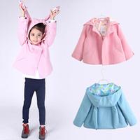 2014 children's autumn clothing little girl's rabbit ear hood coat polar fleece trench girls coat child outerwear kids jacket