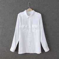Women's fashion single fluid slim ol pocket long-sleeve shirt