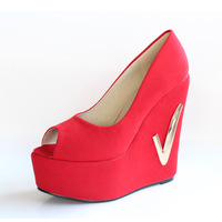 New arrival 2013 plain open toe ultra high heels wedges bride wedding shoes plus size 43 small 30 female sandals