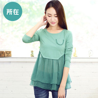 2014 Women's New Chiffon o-neck Long-sleeve T-shirt Patchwork Casual blusas S323 Free Shipping !