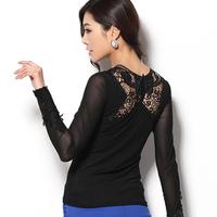 2014 autumn T shirt female lace tops Plus size Long-sleeve Diamond Hollow Gauze lace T-shirts Women basic shirt M-XXXL