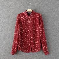 Women's 2014 normic fashion sexy leopard print long-sleeve chiffon shirt