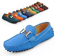 Lovers Genuine leather fashion sneakers rubber sole moccasins flat shoes loafers comfortable driving men shoes. Free Shipping