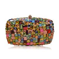 Handmade swarovski crystal colorful plaid evening clutch bag women clutches handbag luxury gift for lady girlfriend mother