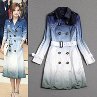 2014 autumn/winter brand celebrity Fashion women's blue gradient  double breasted slim adjustable waist belt long trench