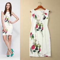 [REAL SHOT] Free Shipping New Fashion 2014 High Quality Women's Elegant Cute Ink Rose Print Slim OL Pencil Dress F-ML166