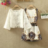 2014 set fashion vintage vest one-piece dress slim waist small fresh twinset one-piece dress