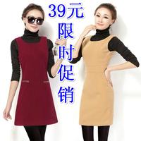 2014 ladies casual work autumn dress women's sleeveless tank dress plus size S-XXL  woolen winter basic o-neck dress 10 color