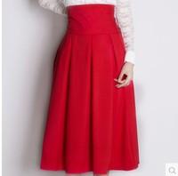 2014 spring and autumn hepburn vintage medium skirt thick pleated skirt high waist skirt bust sheds medium-long skirt