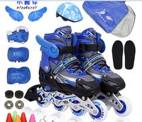 Skatse child set flash adjustable skating shoes inline skate shoes roller