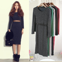 2014 knitted cotton elegant slim sexy club one-piece dress female women lady long sleeeve cutout mesh waist basic full dresses